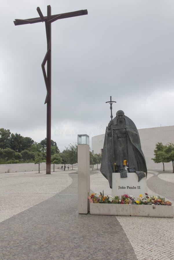 Άδυτο της Fatima, Πορτογαλία, στις 12 Ιουνίου 2018 - άγαλμα του παπά Jo στοκ εικόνα