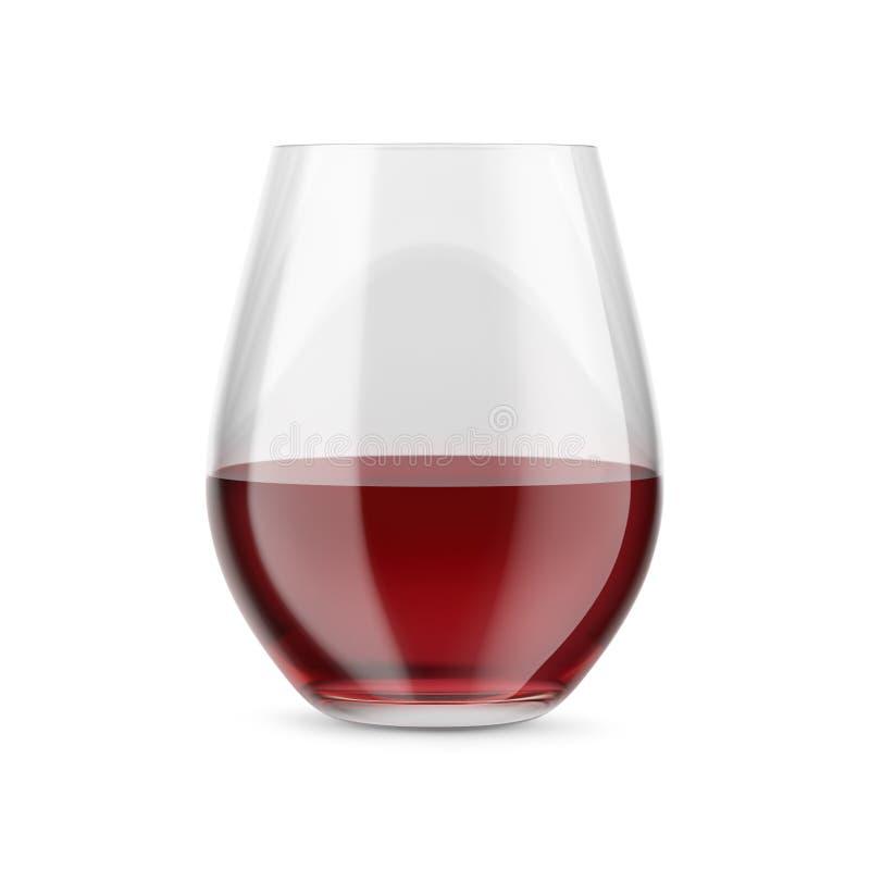 Άκαυλο γυαλί με το κόκκινο κρασί Πρότυπο για τις παρουσιάσεις προϊόντων στοκ εικόνες με δικαίωμα ελεύθερης χρήσης