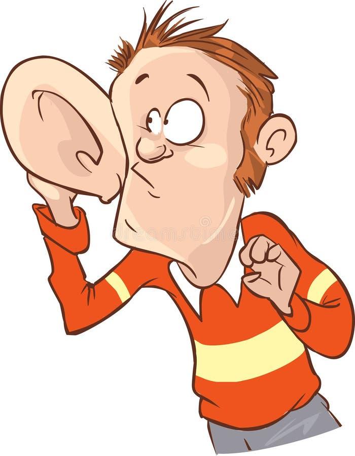 Άκουσμα με το χέρι στη διανυσματική απεικόνιση αυτιών διανυσματική απεικόνιση