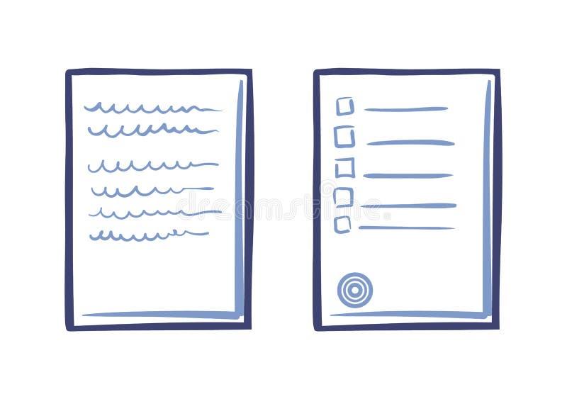 Άκρες ή κατάλογος σχετικά με το γραμματόσημο κειμένων συμβάσεων φύλλων του εγγράφου ελεύθερη απεικόνιση δικαιώματος