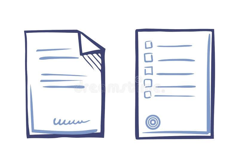 Άκρες καταλόγων φύλλων εγγράφου, υπογεγραμμένο κείμενο συμβάσεων, γραμματόσημο απεικόνιση αποθεμάτων