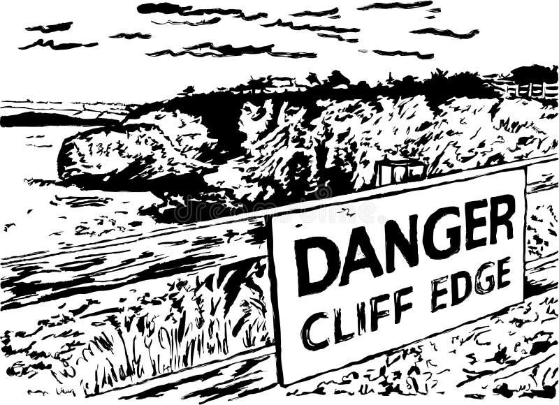 άκρη κινδύνου απότομων βράχ&ome διανυσματική απεικόνιση