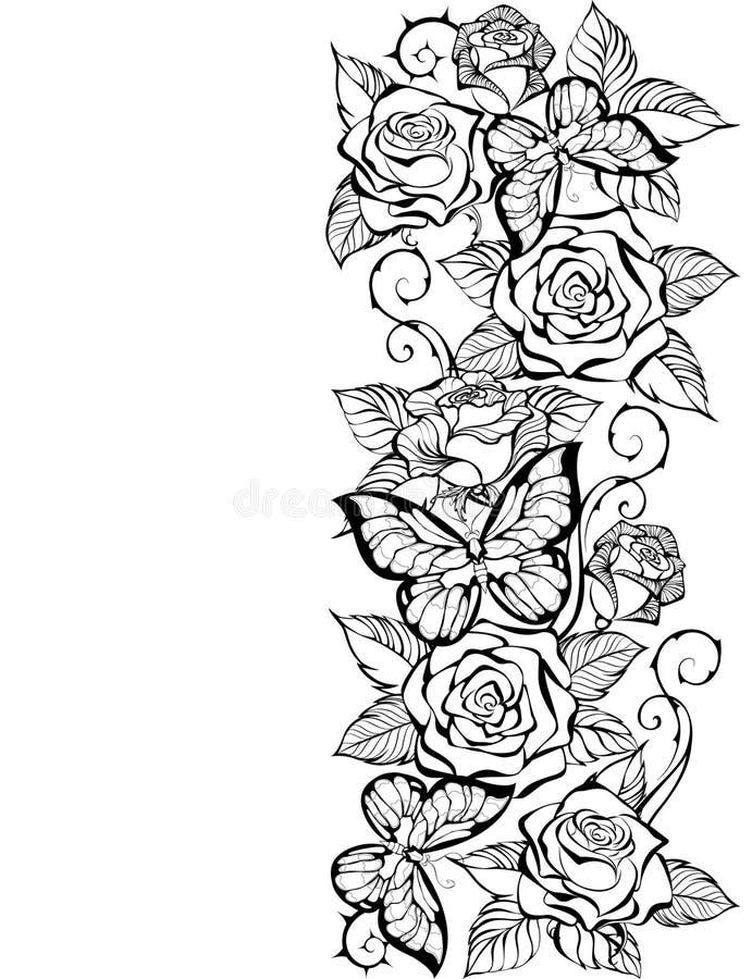 Άκρη του περιγράμματος των τριαντάφυλλων και των πεταλούδων απεικόνιση αποθεμάτων