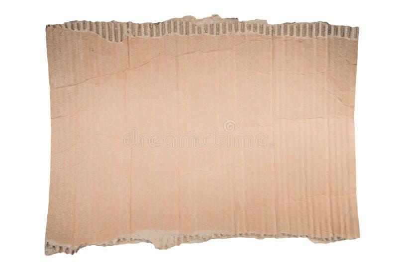 Άκρο σχισμένο από χαρτόνι Κομμάτι χαρτιού απομονωμένο στοκ φωτογραφία με δικαίωμα ελεύθερης χρήσης