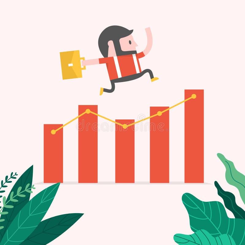 Άλμα επιχειρηματιών Hipster πέρα από την ανάπτυξη του διαγράμματος διανυσματική απεικόνιση