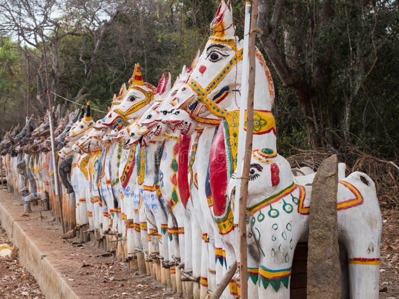 Άλογα αργίλου στο καθήκον στο Tamil Nadu στοκ φωτογραφία με δικαίωμα ελεύθερης χρήσης