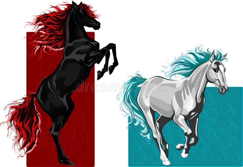 άλογα δύο πυρκαγιάς ύδωρ απεικόνιση αποθεμάτων
