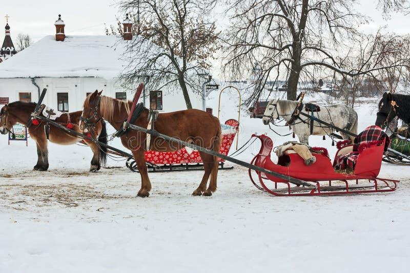 Άλογα με το έλκηθρο στο Σούζνταλ, Ρωσία στοκ φωτογραφία με δικαίωμα ελεύθερης χρήσης