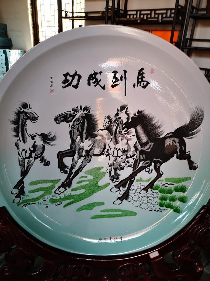 Άλογα στη ζωγραφική παραδοσιακού κινέζικου απεικόνιση αποθεμάτων