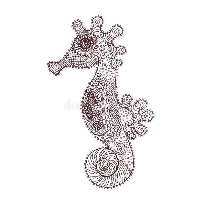Άλογο θάλασσας στο ύφος zentangle απεικόνιση αποθεμάτων