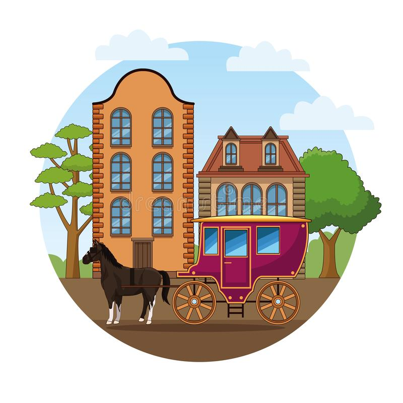 Άλογο με το παλαιό όχημα μεταφορών απεικόνιση αποθεμάτων