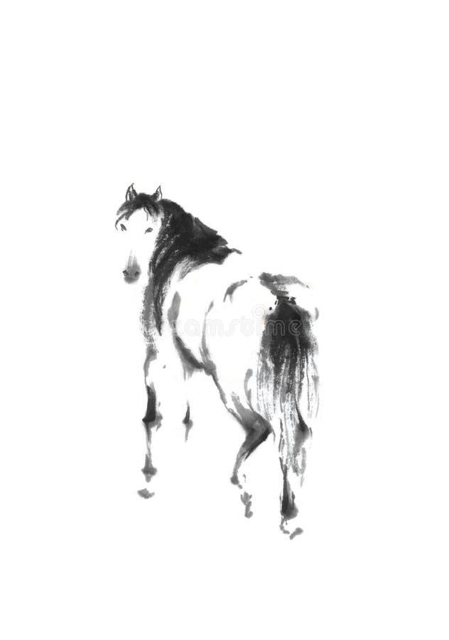 Άλογο που φαίνεται πίσω ιαπωνική ζωγραφική μελανιού sumi-ε ύφους αρχική απεικόνιση αποθεμάτων