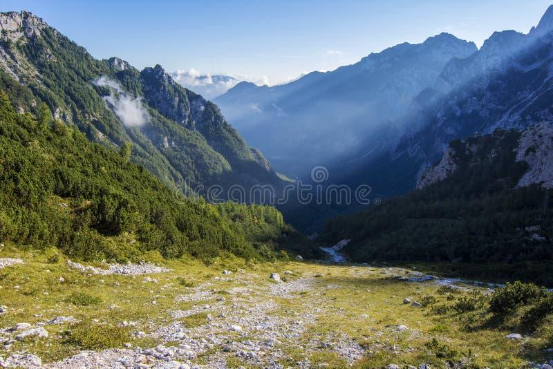 Άλπεις στη Σλοβενία στο μεσημέρι στοκ εικόνα