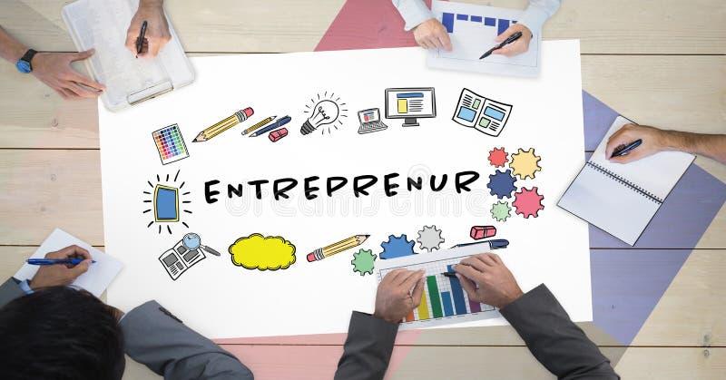 Άμεσα επάνω από τον πυροβολισμό των επιχειρηματιών που εργάζονται στον πίνακα με το διάγραμμα επιχειρηματιών διανυσματική απεικόνιση