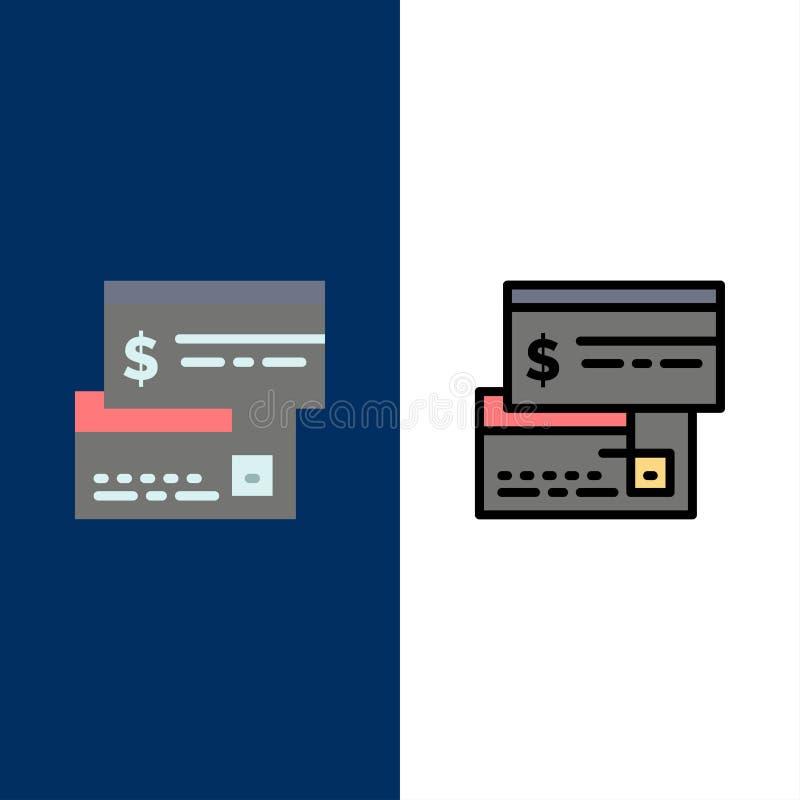 Άμεση πληρωμή, κάρτα, πίστωση, χρέωση, άμεσα εικονίδια Επίπεδος και γραμμή γέμισε το καθορισμένο διανυσματικό μπλε υπόβαθρο εικον απεικόνιση αποθεμάτων