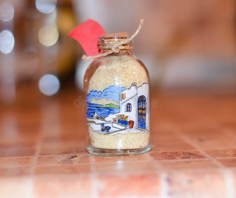Άμμος από Santorini σε ένα βάζο στοκ εικόνα με δικαίωμα ελεύθερης χρήσης
