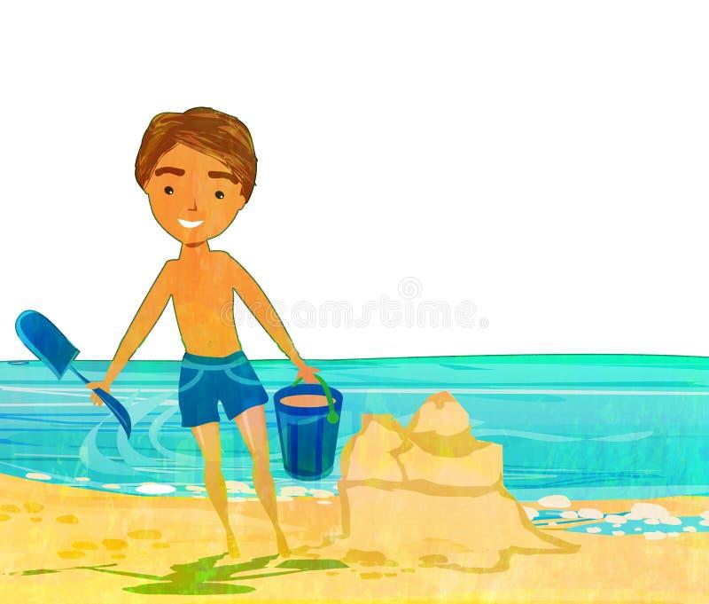 Άμμος παιχνιδιού αγοριών στην τροπική παραλία απεικόνιση αποθεμάτων