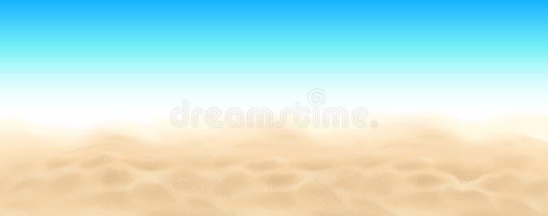 Άμμος παραλιών και διανυσματικό υπόβαθρο τοπίων ουρανού διανυσματική απεικόνιση