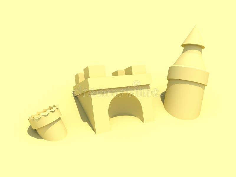 Άμμος Castle στην τρισδιάστατη απεικόνιση παραλιών διανυσματική απεικόνιση