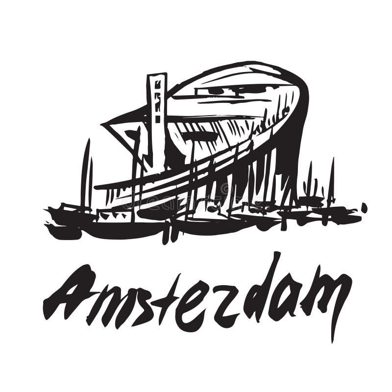 Άμστερνταμ - μουσείο Nemo διανυσματική απεικόνιση