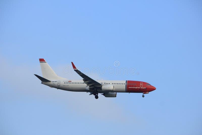 Άμστερνταμ οι Κάτω Χώρες - 14 Ιανουαρίου 2018: Ln-NHF νορβηγικός αέρας Boeing στοκ εικόνες με δικαίωμα ελεύθερης χρήσης