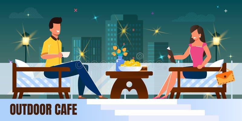 Άνδρας και γυναίκα κατά τη ρομαντική ημερομηνία νύχτας στο εστιατόριο απεικόνιση αποθεμάτων