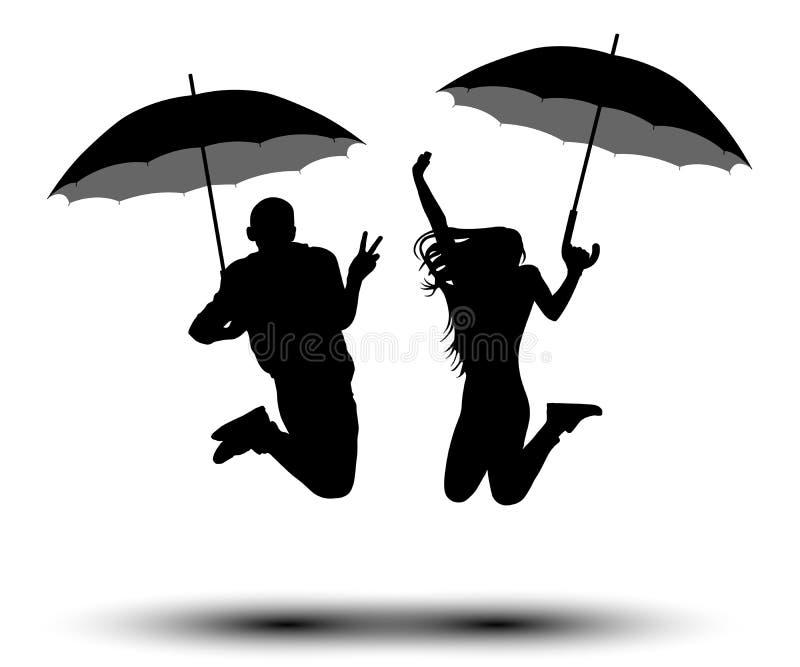Άνδρας και γυναίκα με τις ομπρέλες στο άλμα της σκιαγραφίας Άνθρωποι με parasol από τη βροχή Διάνυσμα στο άσπρο υπόβαθρο διανυσματική απεικόνιση