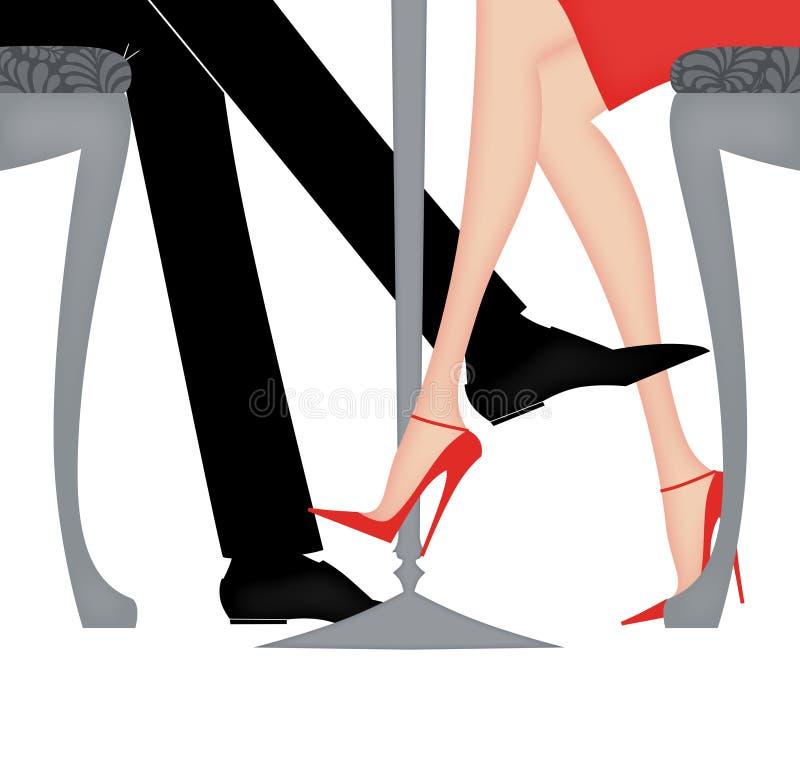 Άνδρας και γυναίκα που παίζουν τη Footsie στο πλαίσιο του πίνακα ελεύθερη απεικόνιση δικαιώματος