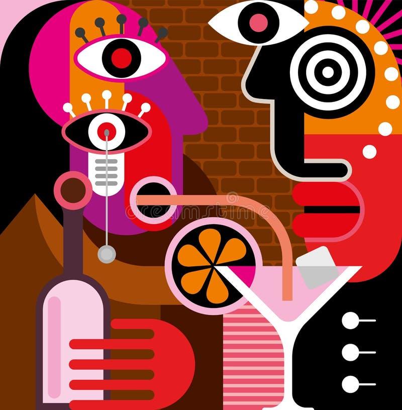 Άνδρας και γυναίκα στη ράβδο - διανυσματική απεικόνιση. διανυσματική απεικόνιση