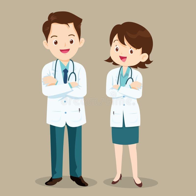 Άνδρας και γυναίκες χαρακτήρα γιατρών διανυσματική απεικόνιση