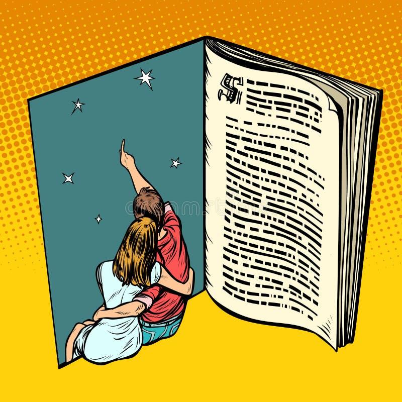 Άνδρας και κορίτσι ζεύγους ερωτευμένος νεαρός Νέο όνειρο παραμυθιού βιβλίων απεικόνιση αποθεμάτων