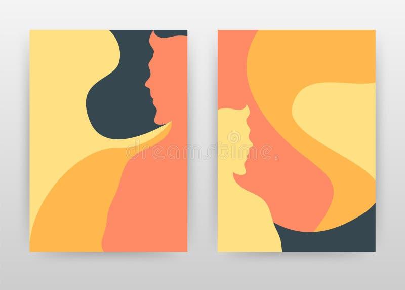Άνδρας, κόκκινο κίτρινο επιχειρησιακό σχέδιο τέχνης χρωμάτων γυναικών για τη ετήσια έκθεση, φυλλάδιο, ιπτάμενο, αφίσα Διάνυσμα υπ ελεύθερη απεικόνιση δικαιώματος
