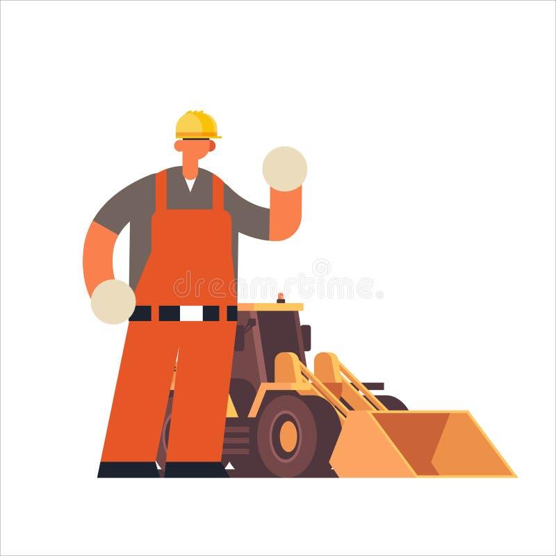 Άνδρας οικοδόμος που φοράει σκληρό καπέλο πολυάσχολος εργαζόμενος που στέκεται κοντά σε τρακτέρ βαρύς εργάτης διανυσματική απεικόνιση