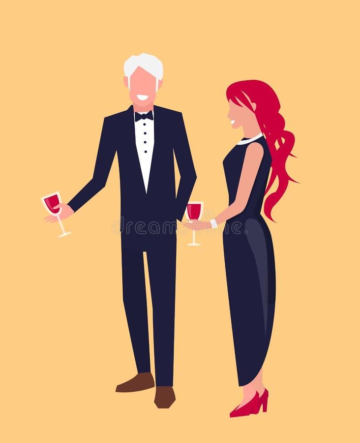 Άνδρας στο κοστούμι και γυναίκα στη διανυσματική απεικόνιση φορεμάτων ελεύθερη απεικόνιση δικαιώματος