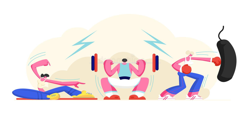Άνθρωποι που ασκούν στη γυμναστική Άνδρας Powerlifting που κάθεται οκλαδόν με το βάρος, κορίτσι που κάνει την αθλητική ικανότητα  διανυσματική απεικόνιση