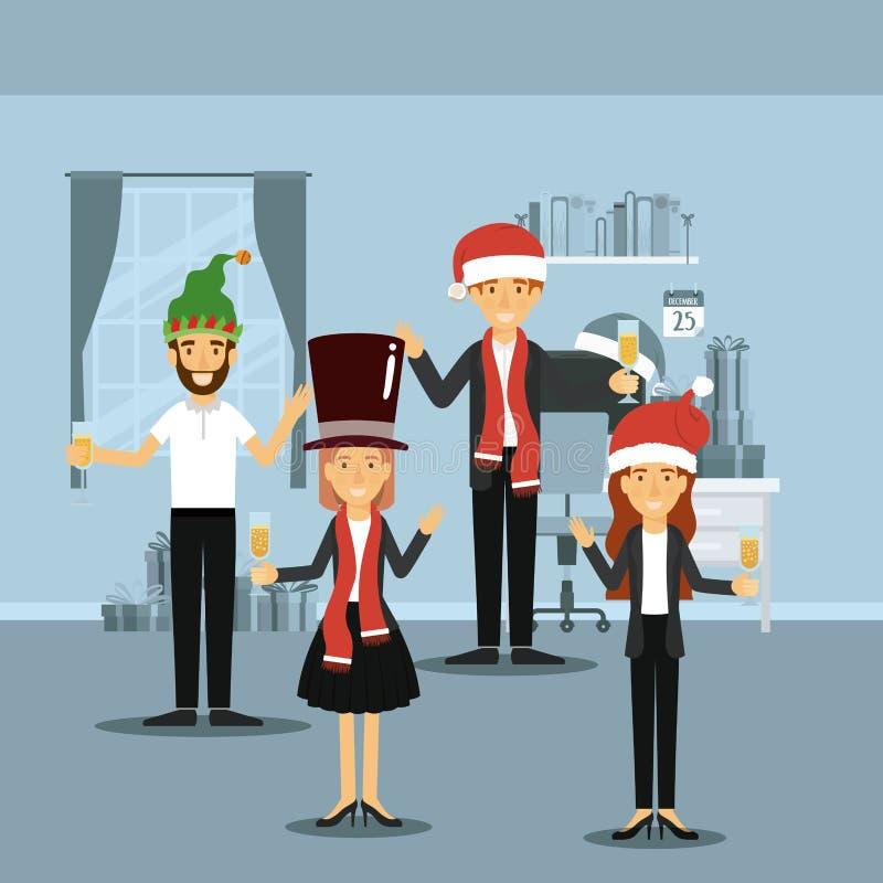 Άνδρες και γυναίκες στα επίσημα ενδύματα που γιορτάζουν τα Χριστούγεννα με τη σαμπάνια και την καθεμία με τα καπέλα Χριστουγέννων απεικόνιση αποθεμάτων