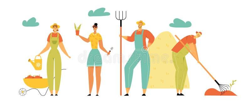Άνδρες και γυναίκες χαρακτήρων αγροτών που καλλιεργούν, συγκομιδή, προσοχή των εγκαταστάσεων, ποτίζοντας, συλλέγοντας τα ώριμα λα διανυσματική απεικόνιση