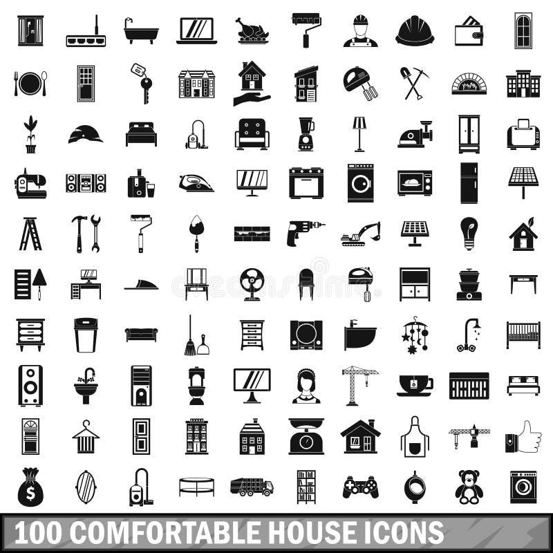 100 άνετα εικονίδια σπιτιών που τίθενται στο απλό ύφος διανυσματική απεικόνιση