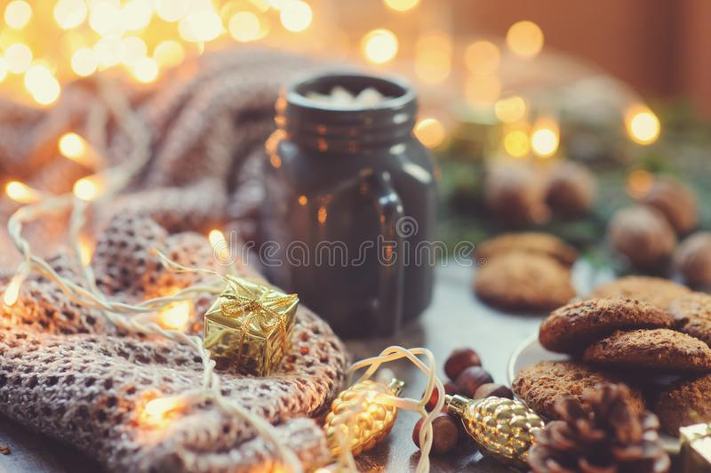 Άνετοι χειμώνας και Χριστούγεννα που θέτουν με το καυτό κακάο με marshmallows και τα σπιτικά μπισκότα στοκ εικόνες