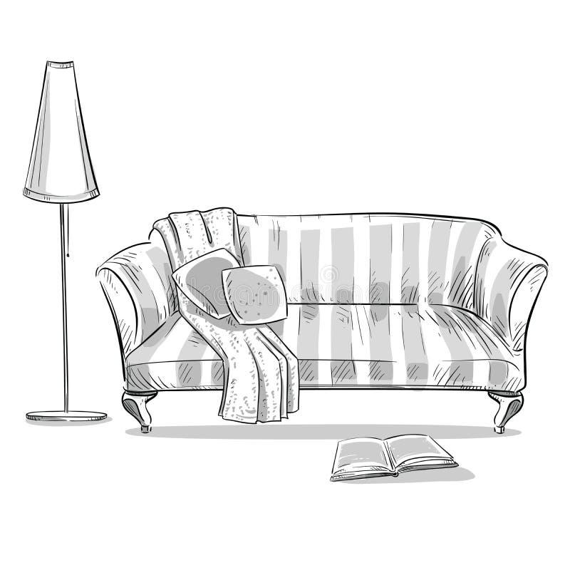 Άνετος καναπές και ένας λαμπτήρας διανυσματική απεικόνιση