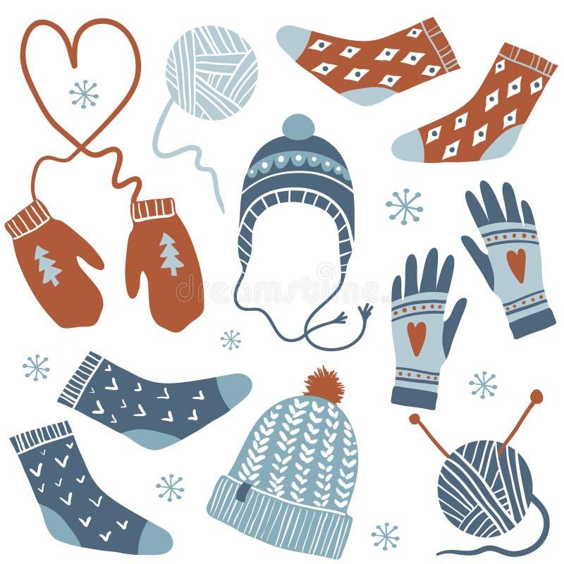 Άνετος χειμώνας πολικό καθορισμένο διάνυσμα καρδιών κινούμενων σχεδίων ελεύθερη απεικόνιση δικαιώματος