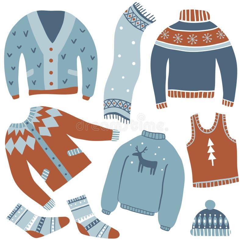 Άνετος χειμώνας πολικό καθορισμένο διάνυσμα καρδιών κινούμενων σχεδίων απεικόνιση αποθεμάτων