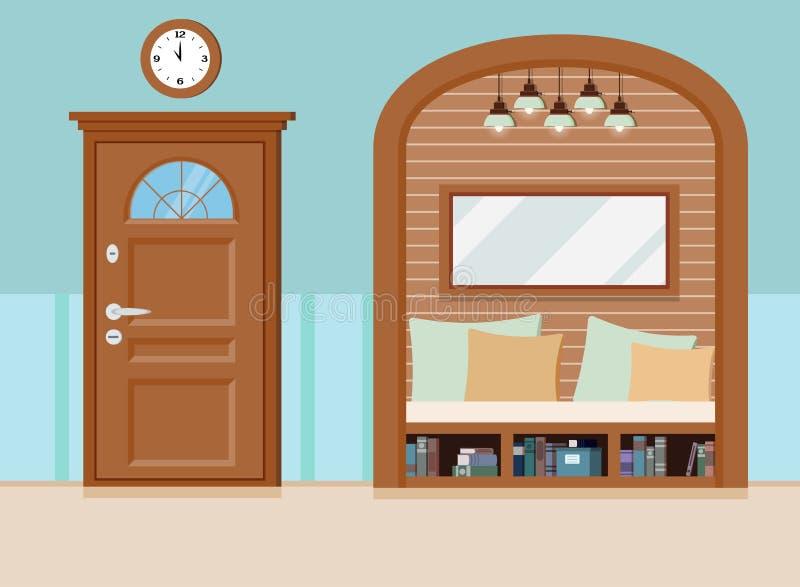 Άνετο απλό εσωτερικό υπόβαθρο αιθουσών εγχώριων εισόδων με τα έπιπλα, κλειστή πόρτα διανυσματική απεικόνιση