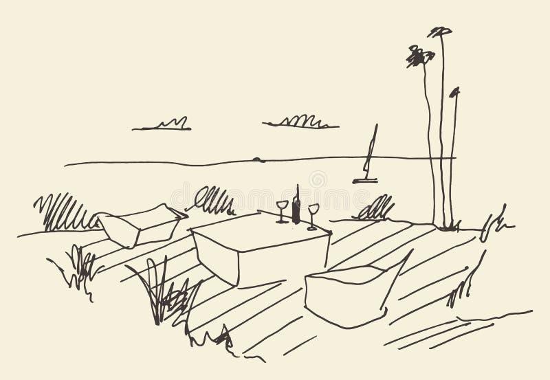 Άνετο διάνυσμα γευμάτων άποψης θάλασσας αποβαθρών θέσεων σκίτσων διανυσματική απεικόνιση