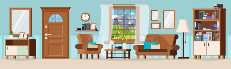 Άνετο καθιστικό αιθουσών με διανυσματική απεικόνιση σχεδίου επίπλων την επίπεδη απεικόνιση αποθεμάτων