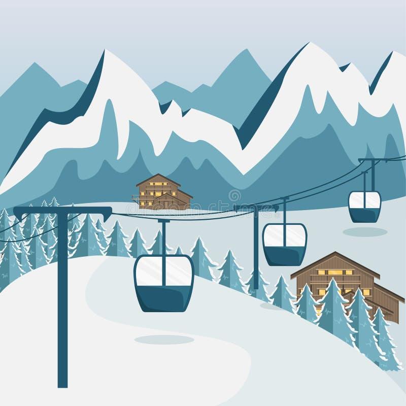Άνετο ξύλινο σαλέ στα βουνά μεγάλα βουνά βουνών τοπίων διανυσματική απεικόνιση