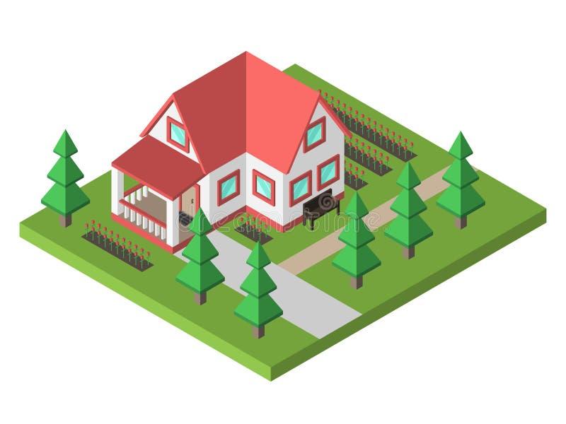 Άνετο σπίτι με τον κήπο ελεύθερη απεικόνιση δικαιώματος