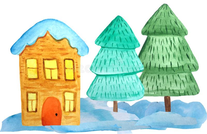 Άνετο σπίτι Χριστουγέννων δύο-ιστορίας snowdrifts και ένα δέντρο σε ένα άσπρο υπόβαθρο απεικόνιση watercolor για τις αφίσες, εμβλ στοκ εικόνα