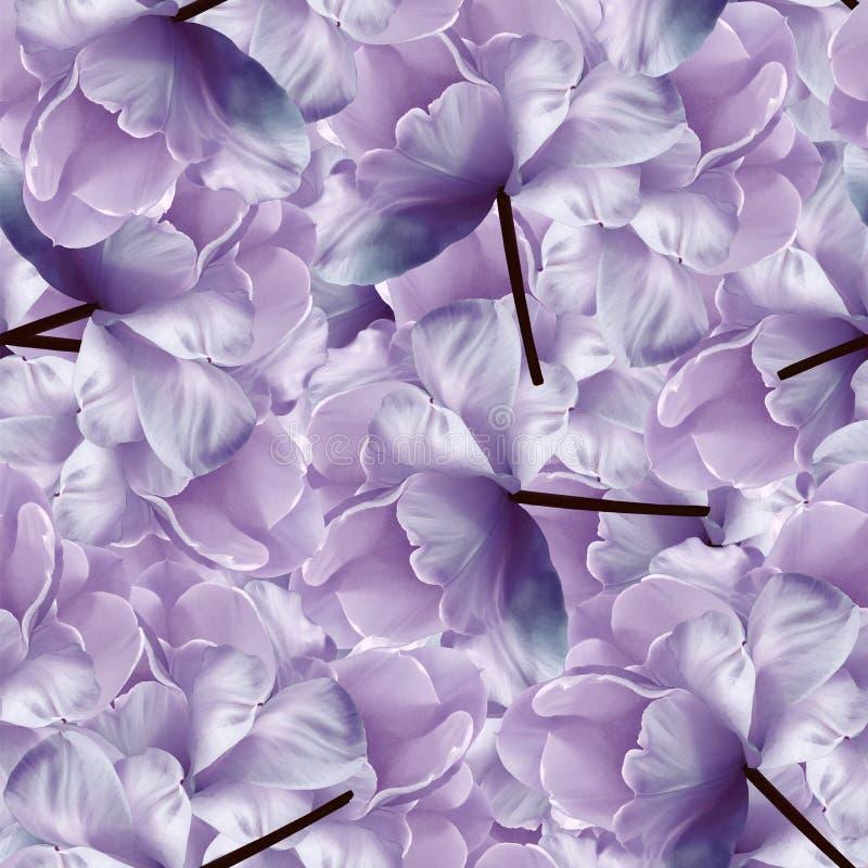 Άνευ ραφής άπειρο floral μπλε-πορφυρό υπόβαθρο για το σχέδιο και την εκτύπωση Υπόβαθρο των φυσικών τουλιπών Ταπετσαρίες στοκ εικόνες