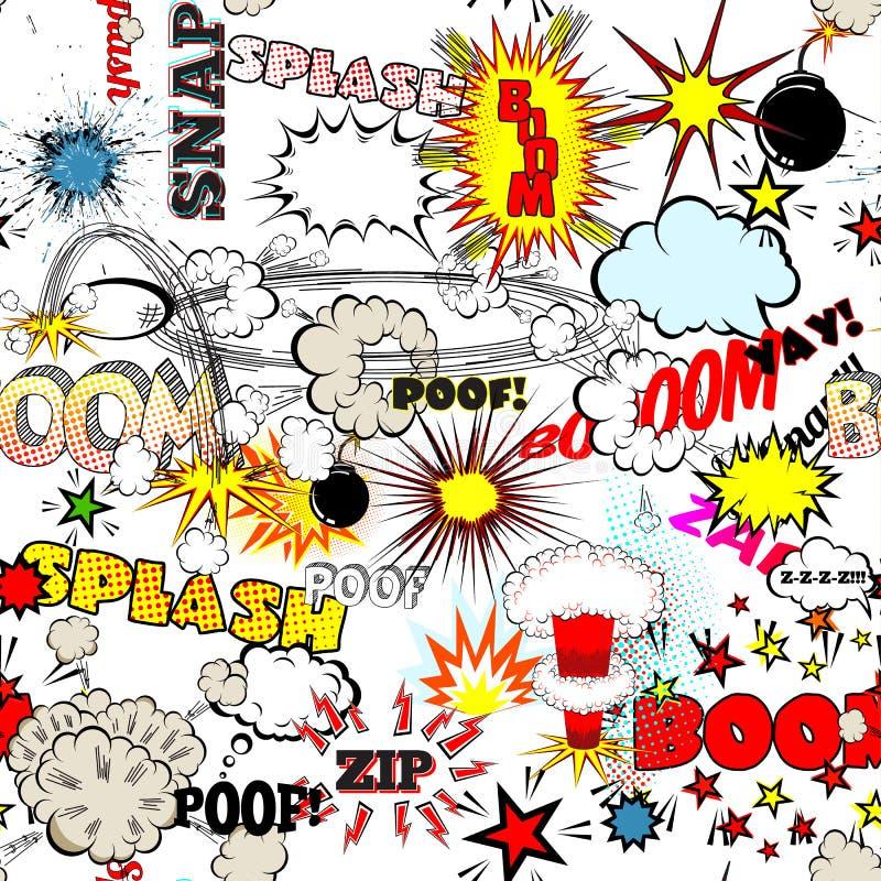 Άνευ ραφής έκρηξη κόμικς, βόμβες και σύνολο φυσήματος Φυσαλίδες για την ομιλία, διαφορετικό διάνυσμα ήχων απεικόνιση αποθεμάτων